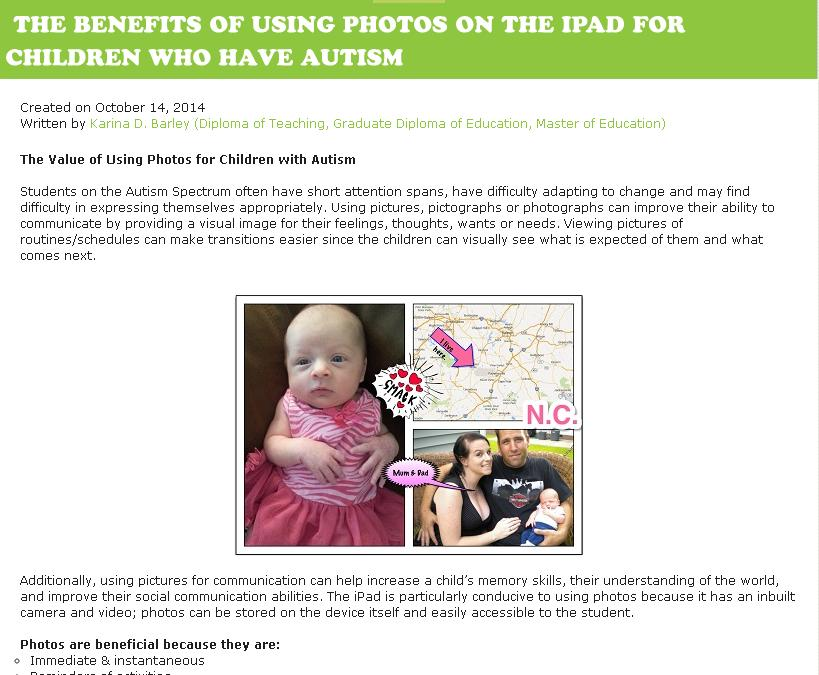 Benefits of using photos on the ipad for children who have autism