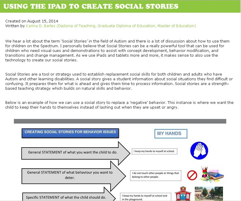 Social Stories using the iPad