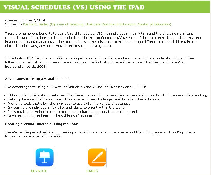 Visual Schedules using the iPad